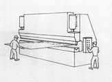 Two person team using a metal folder to shape a large, thin plate of metal.
